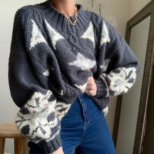 Vintage Sweaters - Mohair Knit Pullover Mock Neck